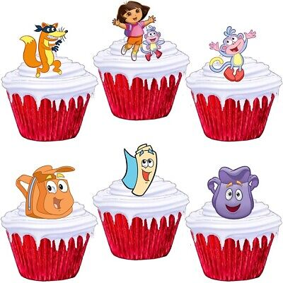 24 Dora The Explorer Cup Cake Toppers Edible Party Decorations • 1.99£