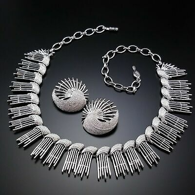 $24.99 • Buy Vintage Sarah Coventry Necklace Earrings Set 1960s Silver Costume Estate Jewelry