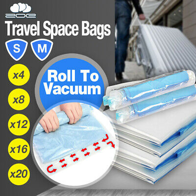 AU8.95 • Buy Travel Roll Up Vacuum Space Saver Storage Bags Compressing Luggage Organiser