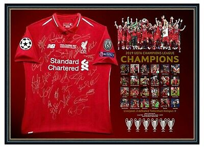 AU1699 • Buy Liverpool Fc 2019 Champions League Jumper Signed Jersey Framed Memorabilia