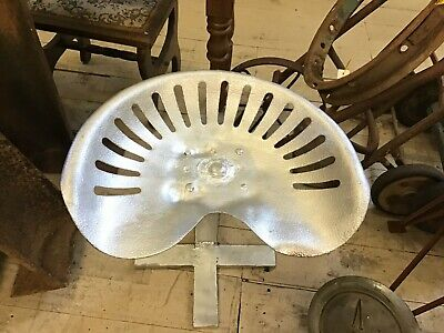 AU120 • Buy Vintage Hand Made Tractor Seat Chair Stool Seat Bright SILVER FARM