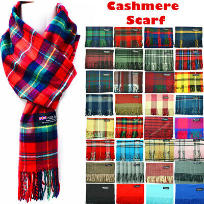 $6.48 • Buy Winter Womens Mens 100% Cashmere Plaid Solid Scarves Wool Scarf Scotland Made