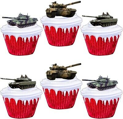 £1.99 • Buy Tank Army Stand Up Cake Toppers Edible Birthday Party Decorations