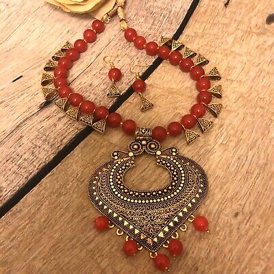 Indian Fashion Jewelry Gold Plated Wedding Red Beads Necklace Earring Set Women • 19.99$