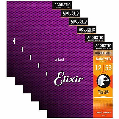 $ CDN40.67 • Buy 6set Elixir 16052 Phosphor Bronze Light Acoustic Guitar Strings .012 - .053