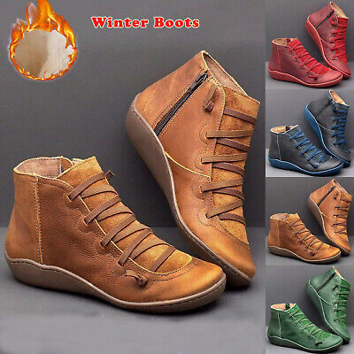 Womens Fur Lined Arch Support Ankle Boots Ladies Winter Flat Casual Shoes Size • 13.29£