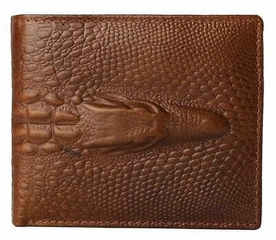 AU15.95 • Buy Mens Wallet Brown Alligator Crocodile Bifold Leather Photo ID Card Holder New