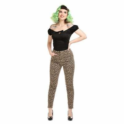 Collectif Maddy Leopard Denim Jean Trousers Vintage Rockabilly Pin Up Hotrod • 39.99£