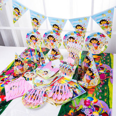 Dora Explore Girl Birthday Party Tableware Decor Plates Straw Hat Spoon Fork Cup • 0.99£
