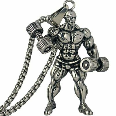 $10.23 • Buy Dumbbell Pendant Necklace Motivation Stainless Steel Chain Men Fitness Accessory