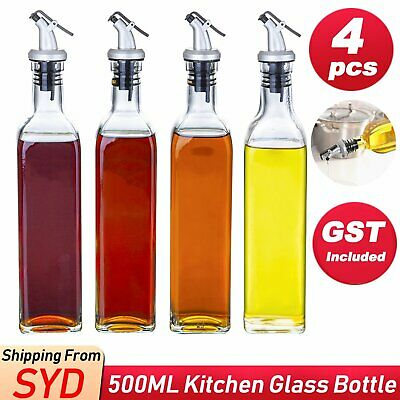 AU33.85 • Buy 4pcs 500ml Olive Oil Vinegar Pourer Dispenser Glass Bottle Kitchen Tools Cooking
