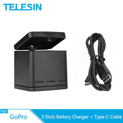 $ CDN15.20 • Buy TELESIN 3 Way Battery Charger Box W/ Type-C Cable Storage For GoPro Hero 5 6 7 8