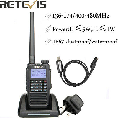 Dual Band IP67 Retevis RT87 VHF+UHF Waterproof 128CH Scan Function TwoWay Radio • 49.99£