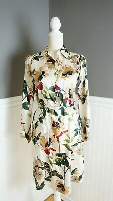 $22.99 • Buy Zara Woman Ladies Size S White Floral Shirt Dress Long Sleeve Waist Tie