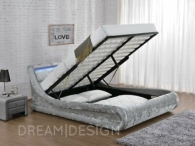 Ottoman Bed Velvet Fabric Silver Or Black With Mattress LED Headboard New • 279.99£