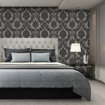 San Remo Black And Silver Damask Wallpaper Heavy Vinyl By Belgravia GB6523 • 20.99£