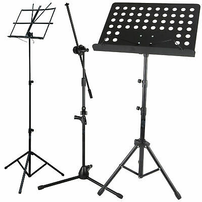 Height Adjustable Foldable Music Orchestral Book Paper & Mic Holder Tripod Stand • 11.75£