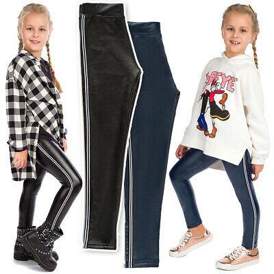 Girls Eco Leather Leggings Child Striped Pants Thick Trousers With Panel FS99K11 • 8.99£