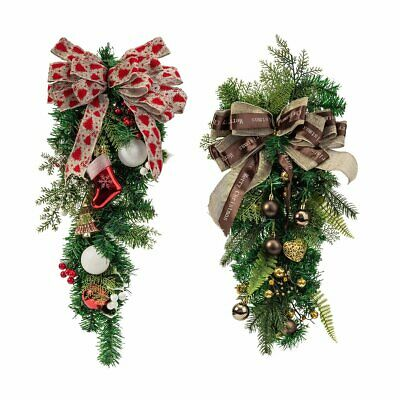 $18.99 • Buy Christmas Wreath Bowknot Garland Door Xmas Hanging Ornament Home Indoor Decor US
