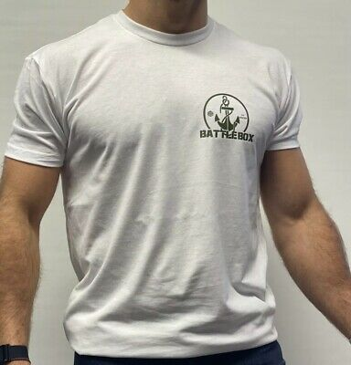 BattleBox UK™ Gym T-shirt M Size Heather White Army Green WOD Cross Anchor Gym • 9.95£