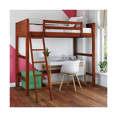 Dorel Living Moon Bay Loft Bed Twin Size Traditional Walnut DL2906WN Furniture • 251.80£