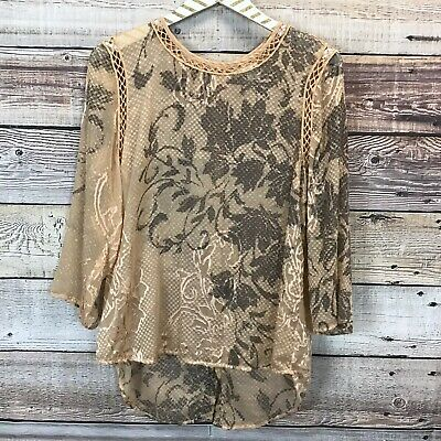$ CDN39.77 • Buy Meadow Rue Anthropologie Medium Sheer Blouse Terra Cotta 0357