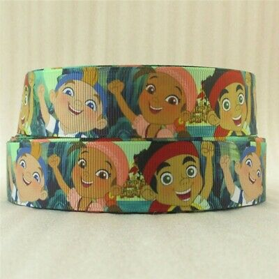 £0.99 • Buy 2 Metre Jake And The Never Land Pirates Ribbon Size Inch Bow Headbands Hair Bows