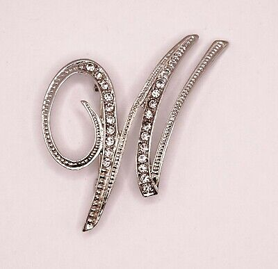 £4.20 • Buy Diamante Silver Initial Letter W Fashion Brooch Pin Brand New FREE P&P