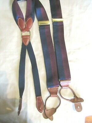 $12.99 • Buy Pelican USA Navy Blue & Red Striped Suspenders Braces USA Made Silk Twill