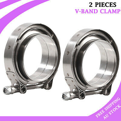 AU45.85 • Buy 2X 3  76mm V-Band Flange & Clamp Kit Stainless Steel For Turbo Exhaust Downpipes