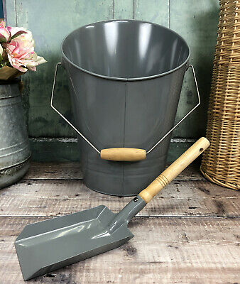 Fireside Coal Scuttle Bucket & Shovel In French Grey With Wooden Handle • 21.99£