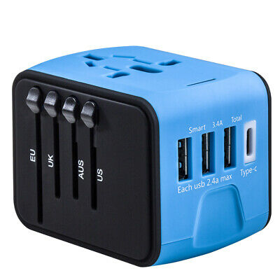 AU22.49 • Buy International Universal Travel Adapter 3 USB + Type C / 4 USB  AC Power Charger