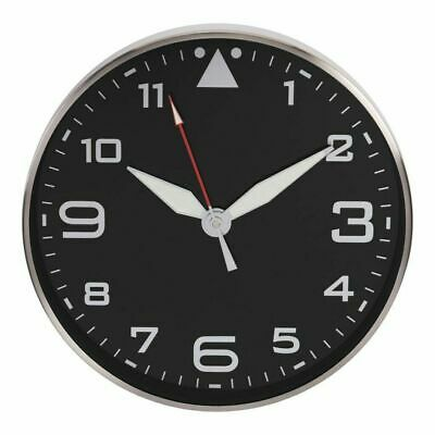 Maisonica Black Metal Wall Clock With Silver Arabic Dial & Luminous Hands 35.5cm • 40.80£