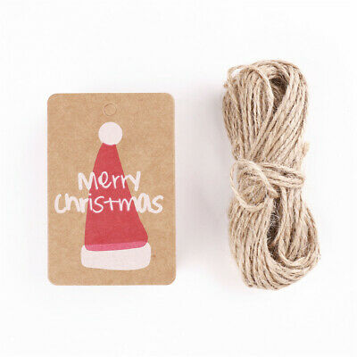 100Pcs Kraft Paper Gift Tags Merry Christmas Hat Card Scallop Label +20M Strings • 2.37£
