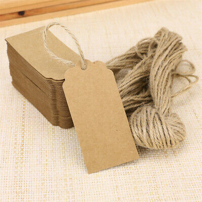50pcs 1.6*3.5in Brown Kraft Paper Tags Card Gift Label Blank Luggage Party Xmas • 2.68£
