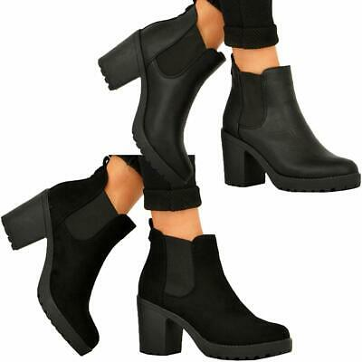 Ladies Womens Ankle Chelsea Block Chunky High Heel Platform Shoes Boots Size 3-8 • 16.95£