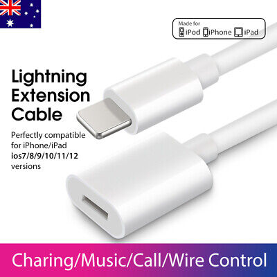 AU7.99 • Buy 1M Lightning Extension Data Charger Cable For IPad IPod IPhone 6/6s/7/8/X/XR