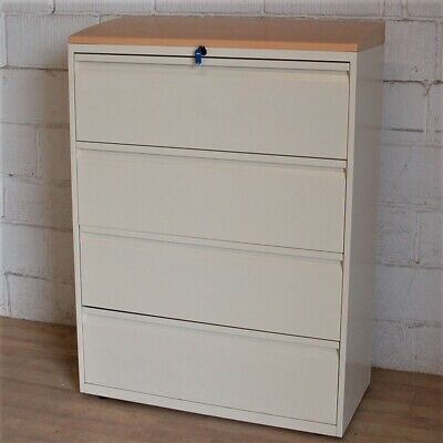 BISLEY Lateral 4dwr Filing Cabinet Cupboard Unit Cream Beech Storage Office • 199£