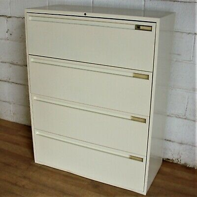 MAINE Lateral 4dwr Filing Cabinet Cupboard Unit Cream Storage Office Bisley • 195£