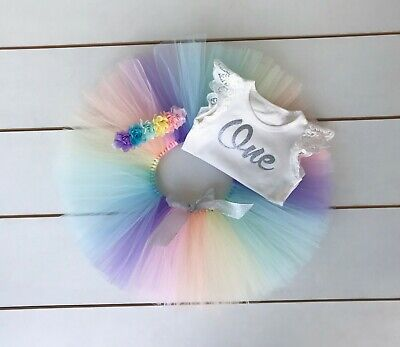 AU45 • Buy Pastel Rainbow Cake Smash Outfit - 3 Piece First Birthday Tutu Set Baby Girl