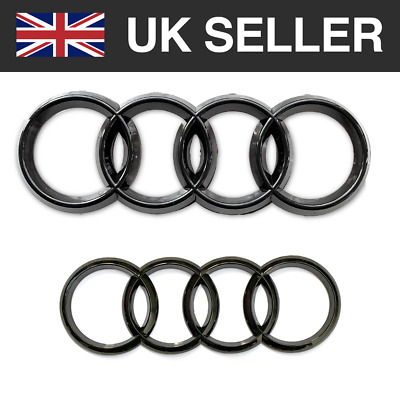 £13.75 • Buy Audi Gloss Black Front Rear Grille Bonnet Badge Rings 273mm 193mm A1 A3 A4 A6