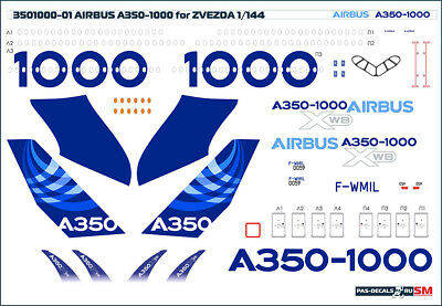 1/144 PAS-DECALS  ZVEZDA  Revell  Airbus A350-1000 DEMO COLOR • 10.73£