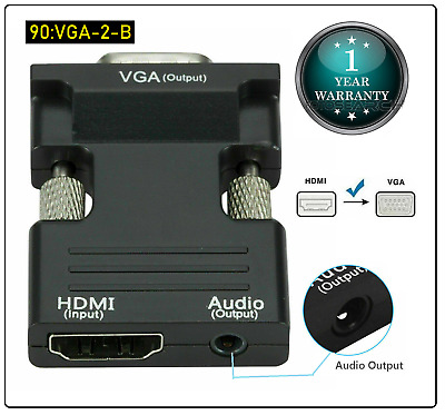 1080P HDMI Female To VGA Male With Audio Output Cable Converter Adapter Lead UK • 3.55£