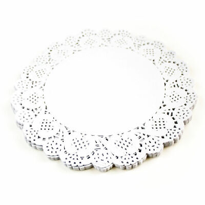 100x 9.5 (24cm) Round White Paper Doilies Lace Pattern Coasters Table Mats Cover • 1.55£