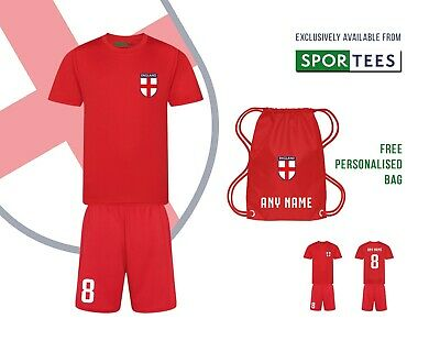 Personalised Kids All Red England Style Away Football Kit Shirt And Shorts Bag • 29.95£