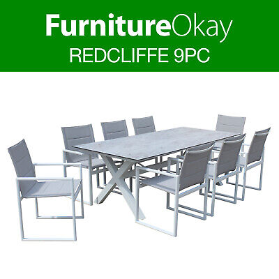 AU2299 • Buy Redcliffe 9pc Outdoor Dining Setting Patio Set Table Chairs Furniture White