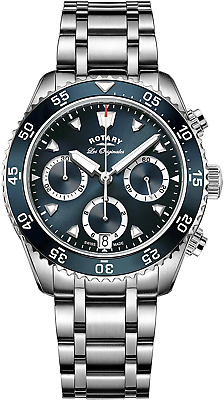 Rotary Men's Quartz Watch With Blue Dial Chronograph Display And Silver Stainles • 399£