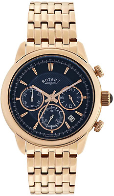 Rotary Men's Quartz Watch With Blue Dial Chronograph Display And Rose Gold Plate • 154£