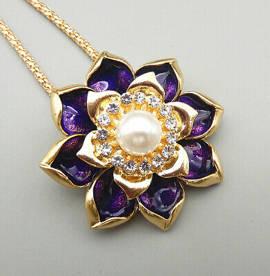 $ CDN6.57 • Buy Betsey Johnson Purple Enamel Crystal Lotus Flower Pendant Long Necklace/Brooch