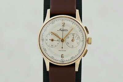 $ CDN3751.51 • Buy Vintage Minerva Valjoux 69 Chronograph Mechanical 14k Solid Gold Case 30mm